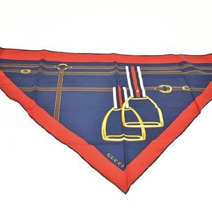 GUCCI: Navy Blue Silk Stirrup Logo Neckerchief mv